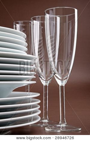 tableware, plate and glasses
