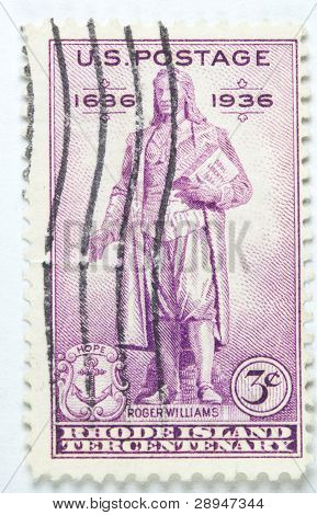 stamp printed by USA shows Roger Williams and the Rhode Island Tercentenary, circa 1936.