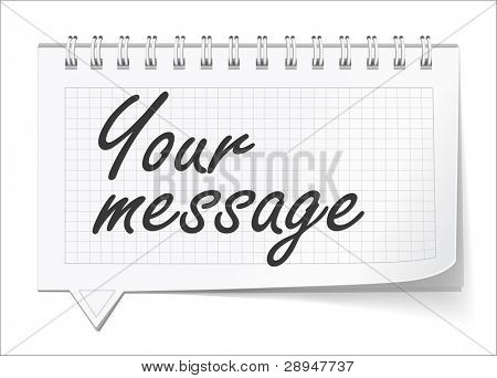 Vector illustration of notepad bubble speech