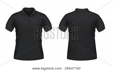 Vector illustration of black men's polo