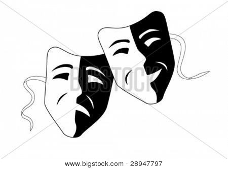 Vector illustration of theater masks.