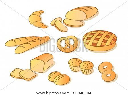 Bakery clip art set. Sketch style