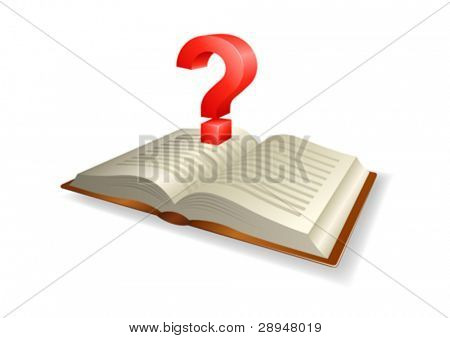 Vector illustration of a book with a question mark