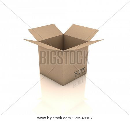 Open cardboard box. 3D generated image.