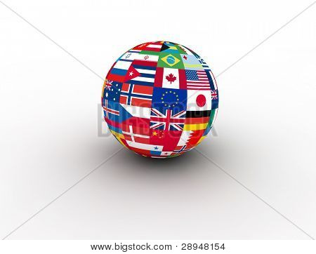 A sphere with flags of the world. Computer generated image.