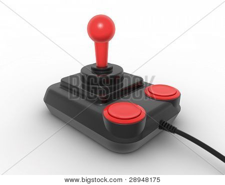Retro joystick on white. Digitally generated image.