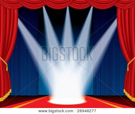 vector illustration of the stage with spotlights like crown