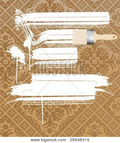 vector baroque brown wallpaper painted white