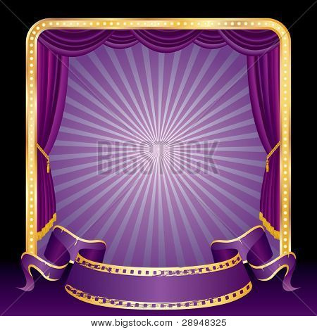 vector purple blank banner on stage with rays
