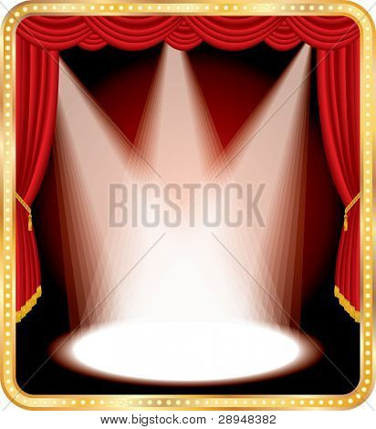 vector empty stage with red curtain and three spots