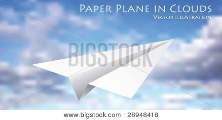 vector illustration of the flying paper plane on cloudy sky