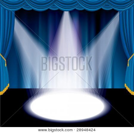 vector blue stage with three white spot light