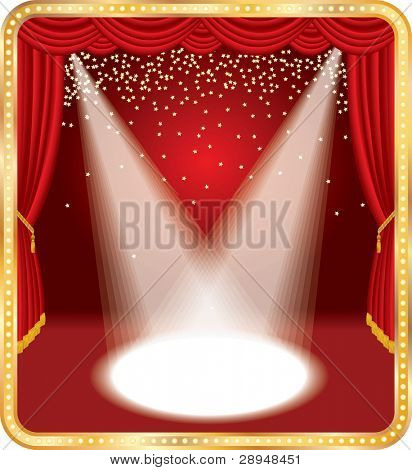 vector red stage with falling golden stars