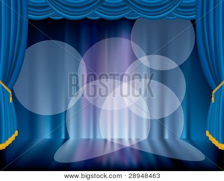 vector blue stage with blurry background