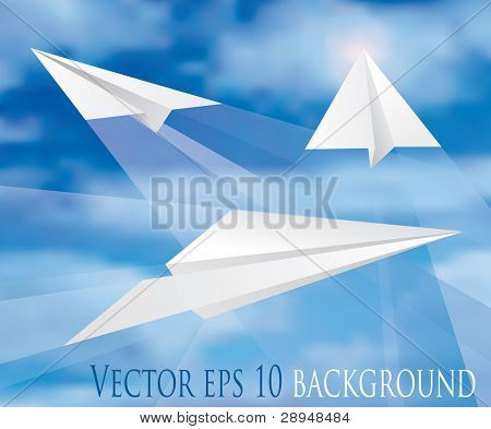 vector paper planes on cloudy sky