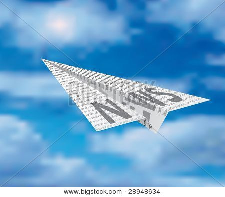 vector paper plane on cloudy sky