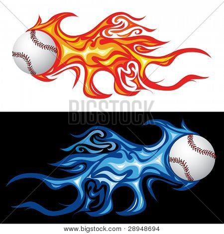 vector illustration of the baseball in fire