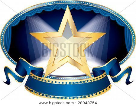 vector oval empty stage with transparent golden star and two spots, eps 10 file
