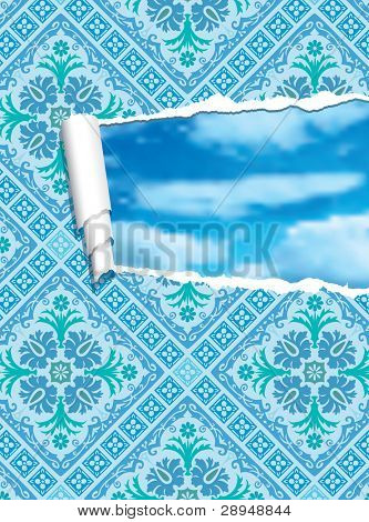 vector illustration of the ripped baroque wallpaper