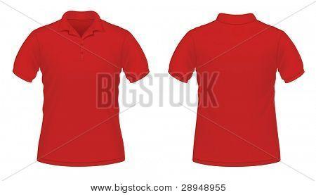 Vector illustration of red men's polo shirt
