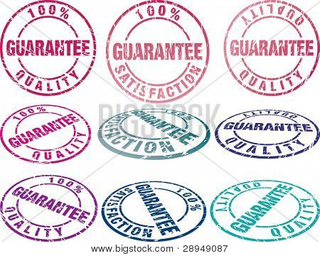 set of grunge vector rubber seals in different colors