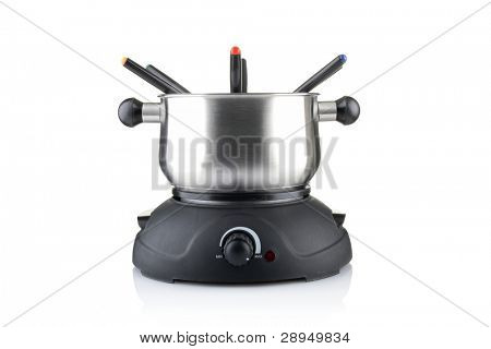fondue set isolated on white