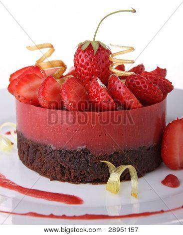 mousse de torta y fresa de postre, chocolate