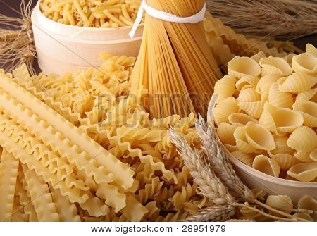 close up on assortment of uncooked pasta