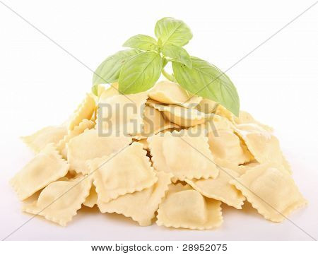 isolated ravioli on white background