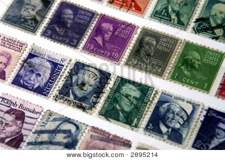 Postage Stamps Of Famous Americans