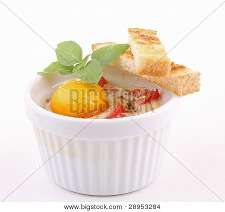 isolated egg cocotte on white background