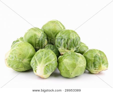 isolated brussels sprouts on white background