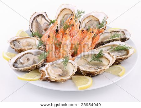 isolated plate of oyster and shrimp