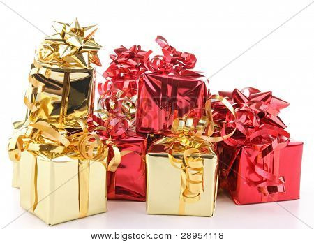 isolated pile of presents on white