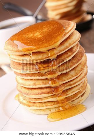 pancakes stack with syrup