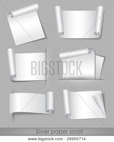vector illustration of silver paper scroll