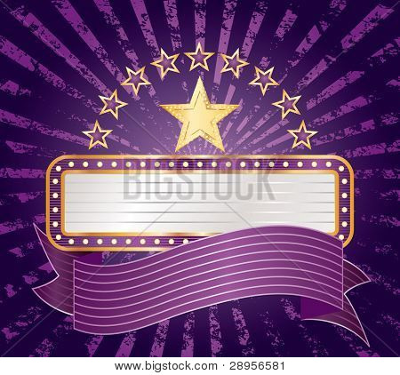ten purple stars with blank billboard