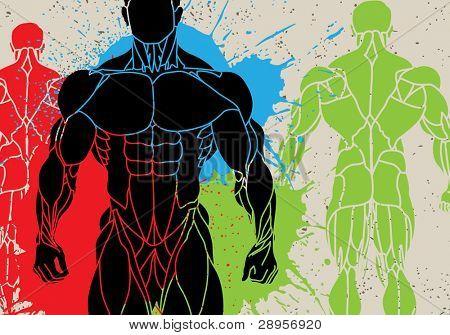ein starker Mann silhouette vektor-illustration