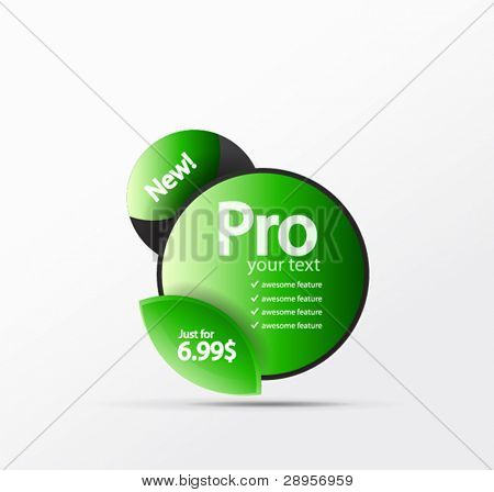 Vector promo web box table with price