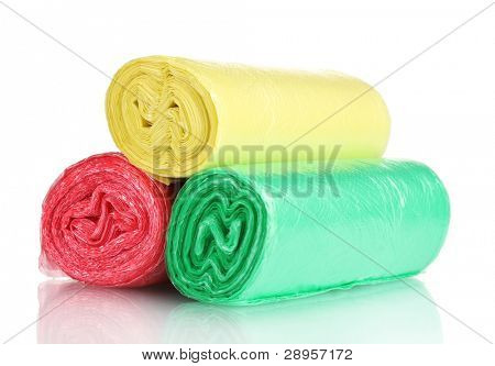 Rolls of garbage bags isolated on white