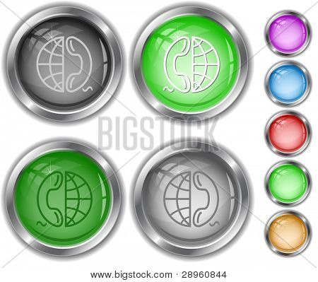 Globe and phone. Raster internet buttons. Vector version is in portfolio.