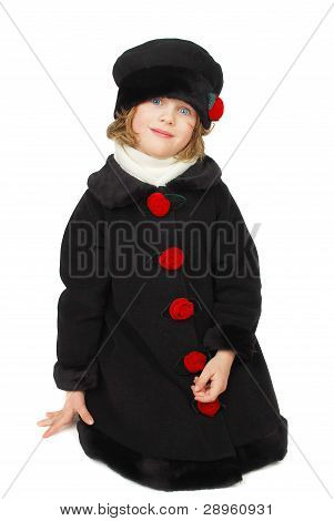 Girl In Elegantkniting Black  Coat