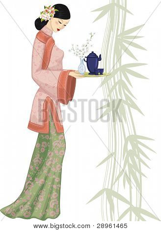Beautiful chinese woman holding a tray with a tea set