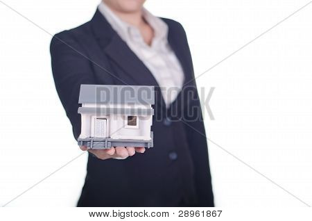 real estate agent show a house