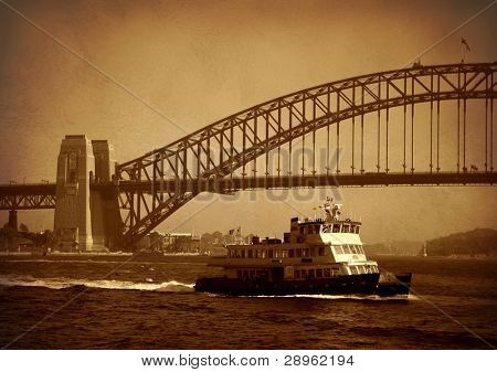 Sydney harbour bridge with ship in old style