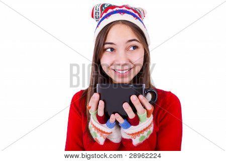 Teenager Girl Holding Coffee Cup