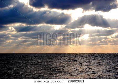 Dawn at an Oil Rig