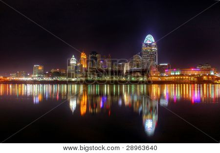 Night Skyline, Cincinnati, Ohio, Editorial