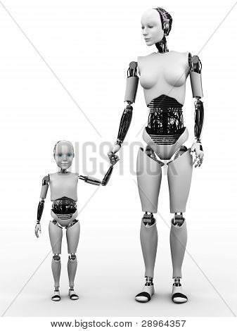 Robot Woman With Her Child.