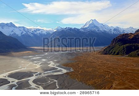 aerial view of Tasman glacier and Mountain Cook Peak in New Zealand Landscape